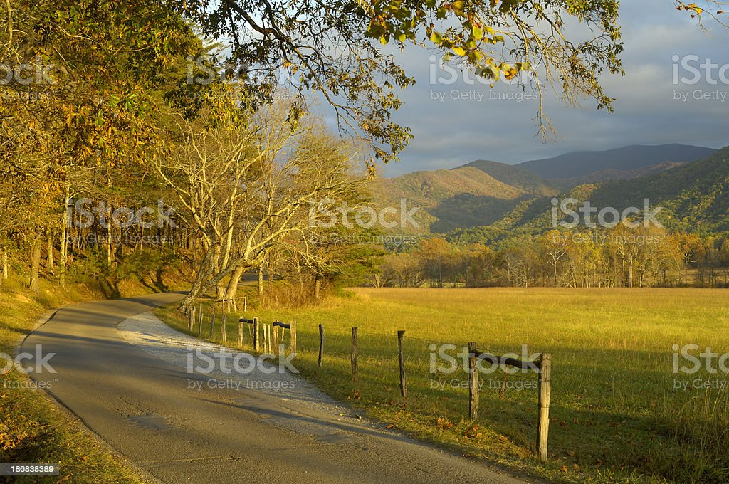 Cades Cove loop road in Late October, Great Smoky Mountains stock photo