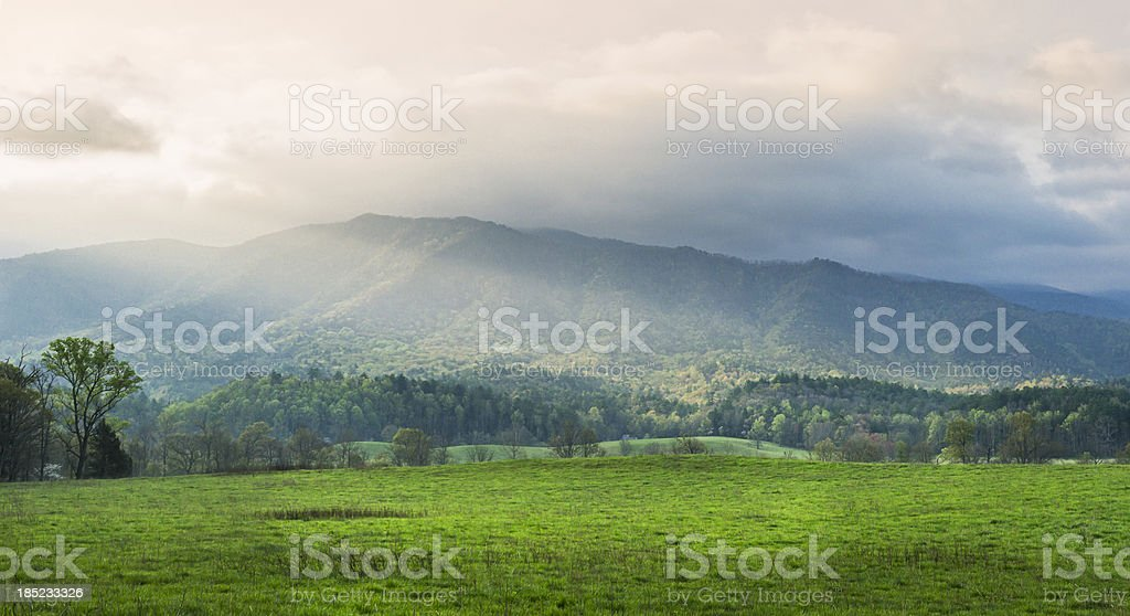 Cades Cove panoramic in the Smoky Mountains royalty-free stock photo