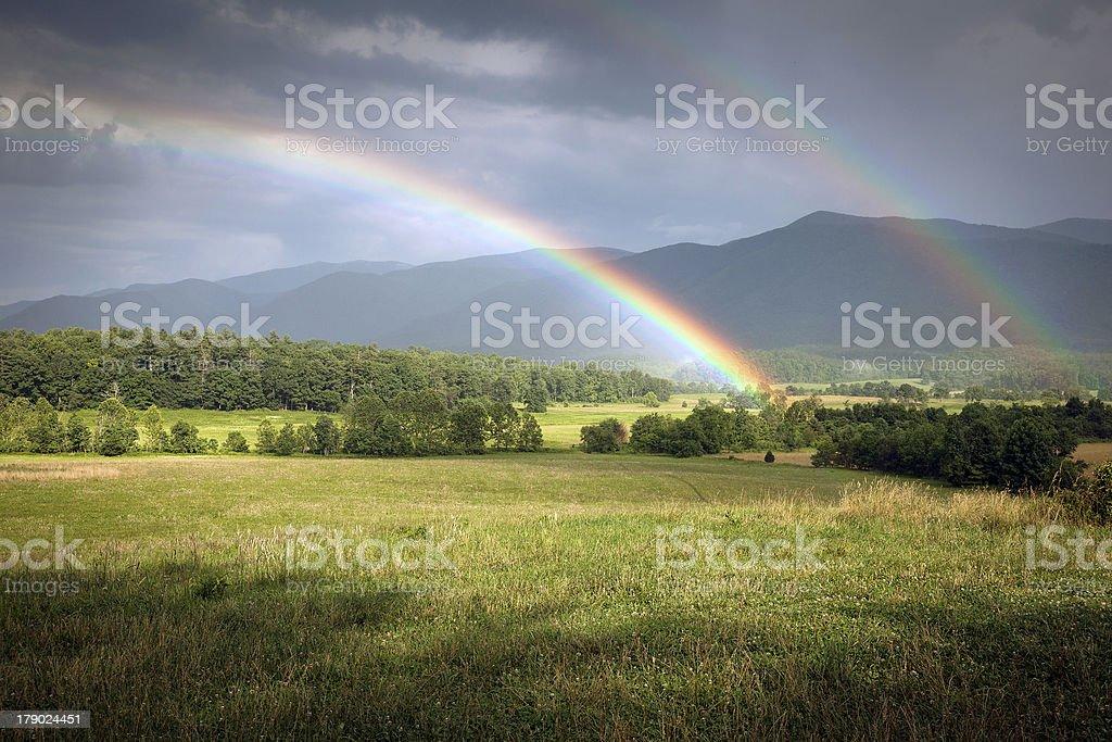 Cades Cove Rainbow: Smoky Mountain National Park royalty-free stock photo