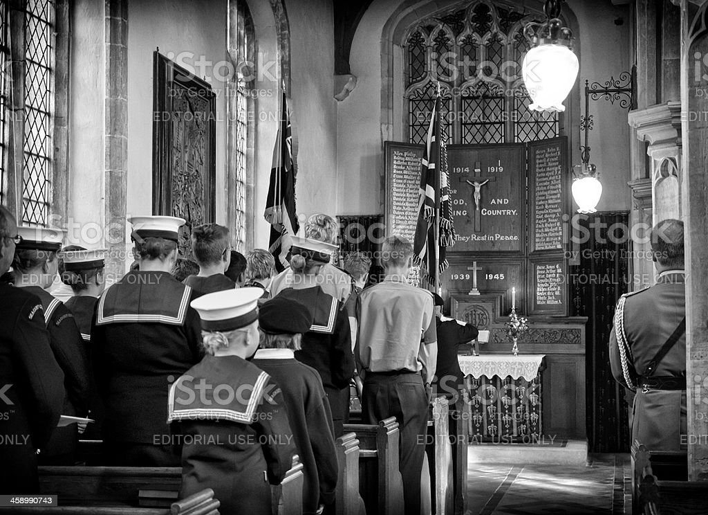 Cadets at a church service stock photo