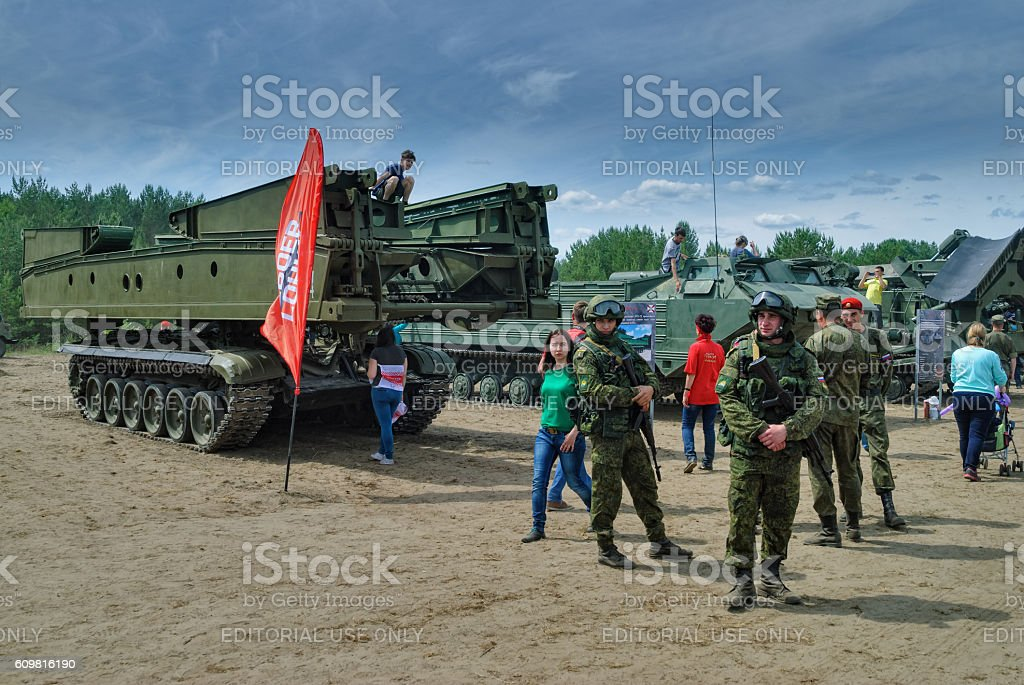 Cadets of military university near bridge layer stock photo
