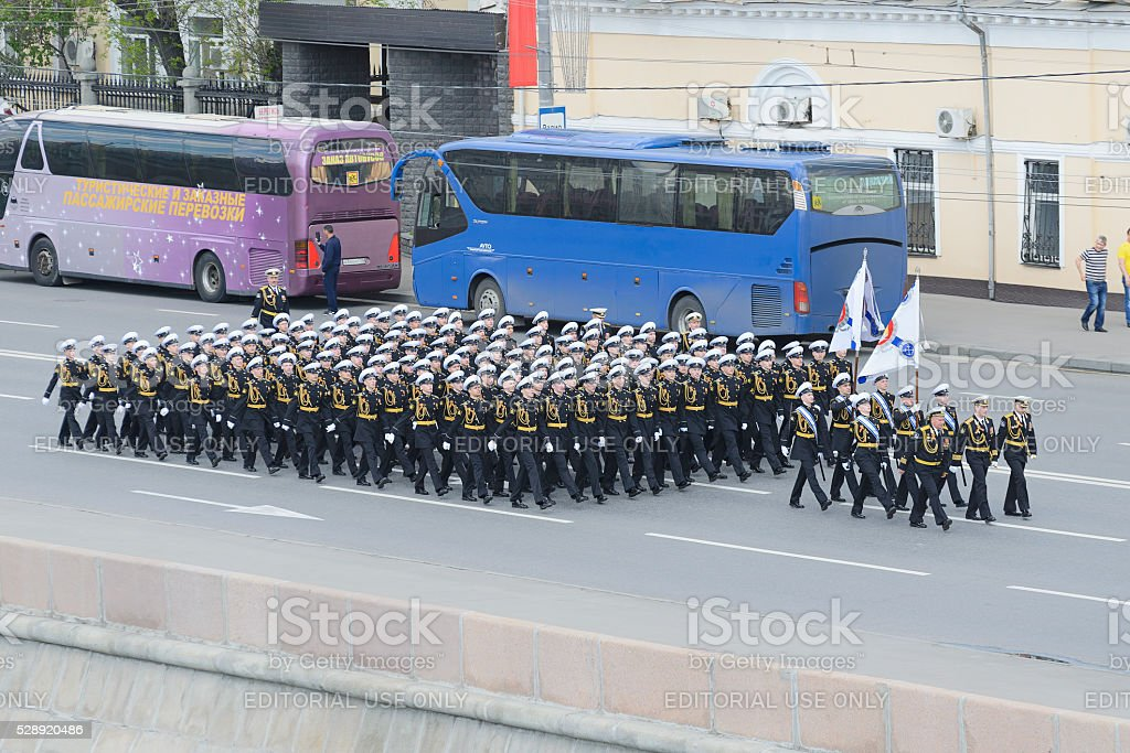 Cadets of the Nakhimov school marching stock photo