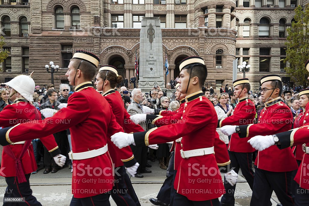 Cadets parade on Remebrance Day. royalty-free stock photo
