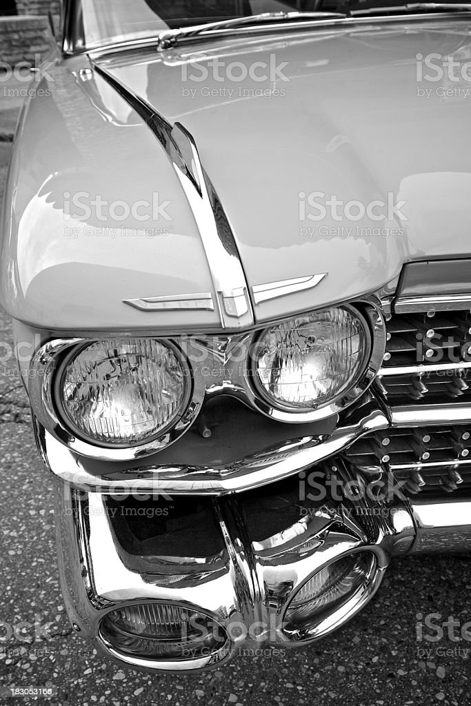 Cadillac Bumper and Headlights 1959 stock photo