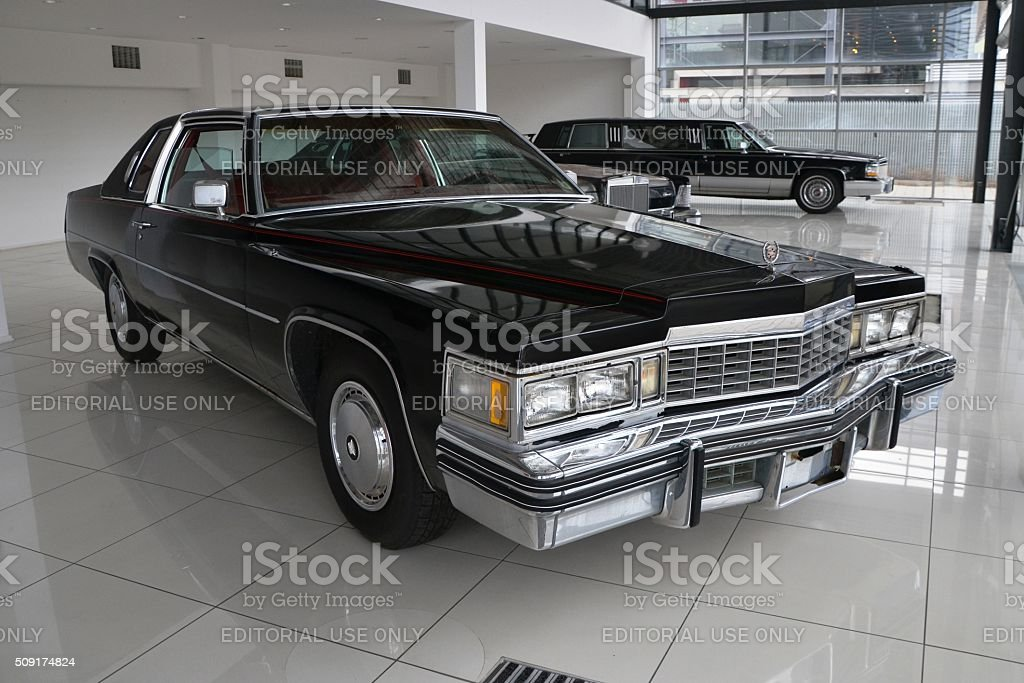 Cadillac Coupe DeVille in a car showroom stock photo