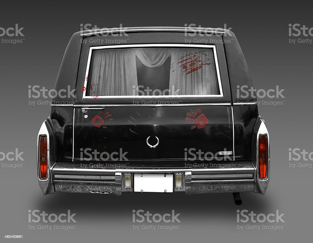 Cadillac hearse with bloody prints and clipping path stock photo