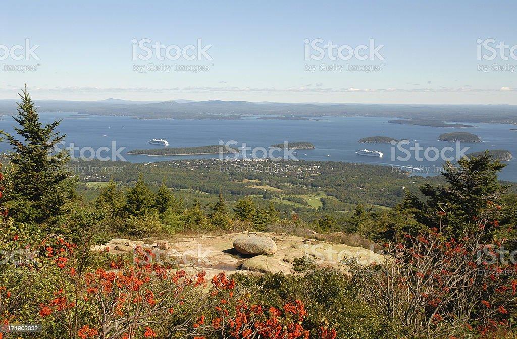 Cadillac Mountain & Bar Harbor, Maine stock photo