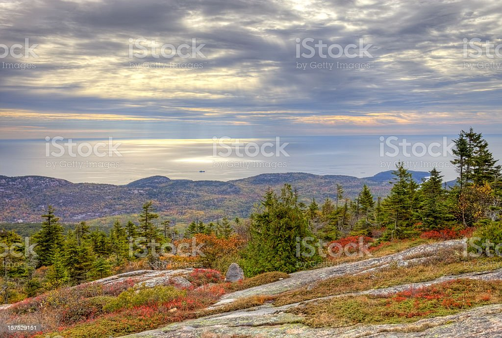 Cadillac Mountain in Maine stock photo