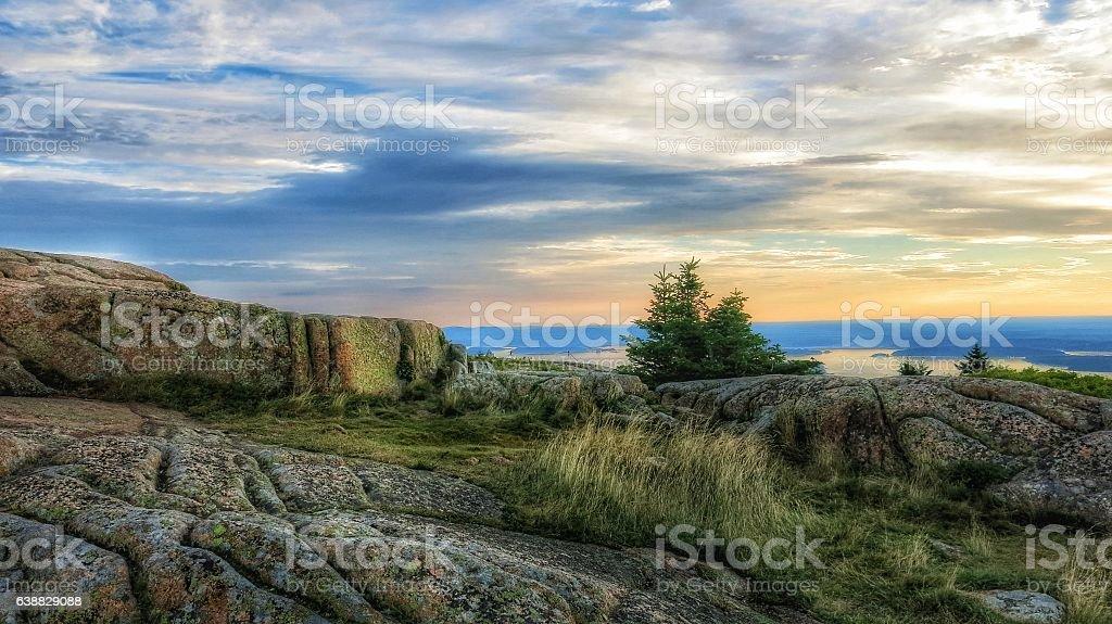 Cadillac Mountain Morning Sunrise, Bar Harbor, Acadia, Maine stock photo