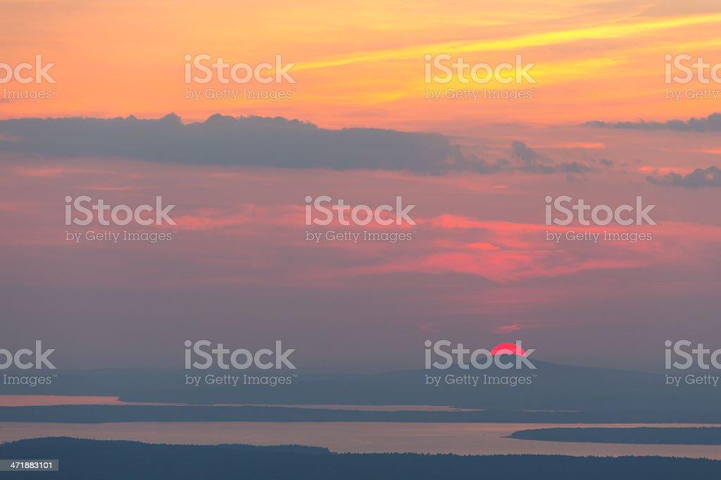 Cadillac Mountain Sunset stock photo