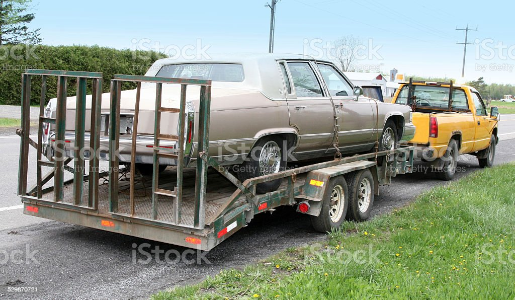 Cadillac on a flatbed stock photo