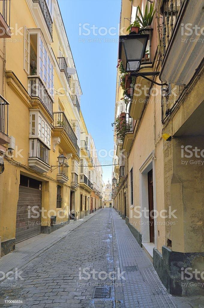 Cadiz Old Town Residential Street royalty-free stock photo