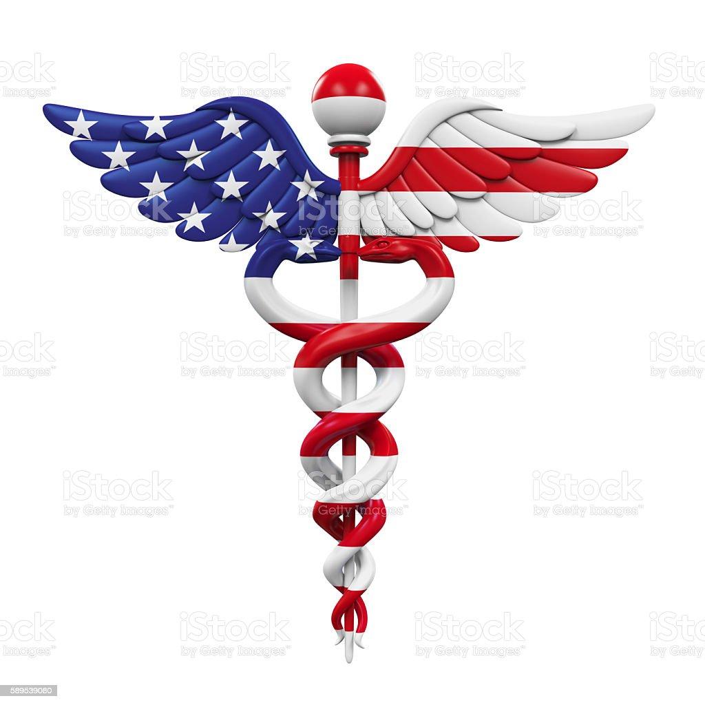 Caduceus American Flag stock photo