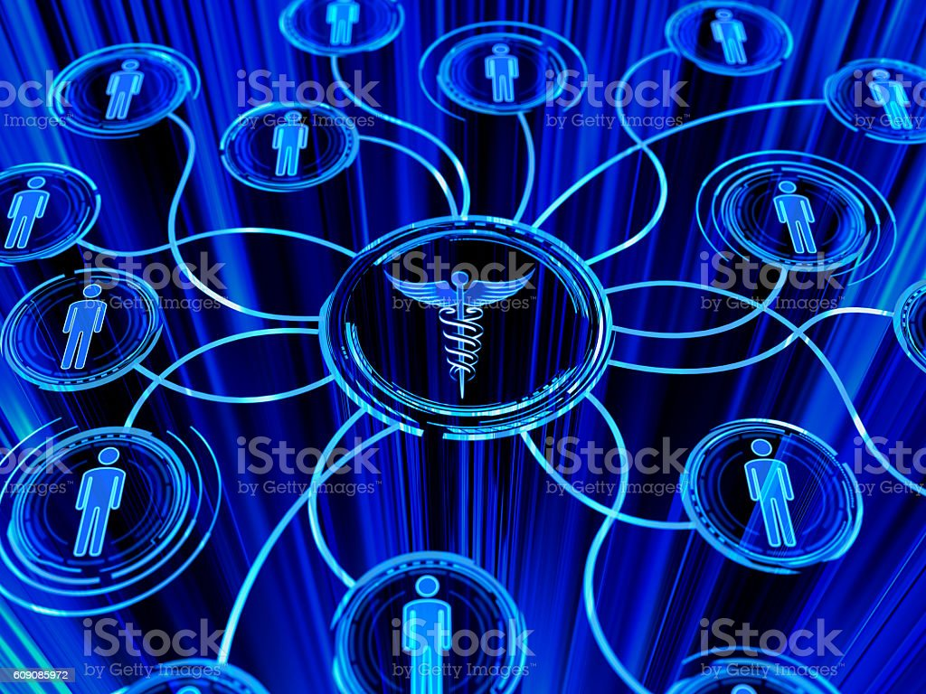 caduceus and people network stock photo