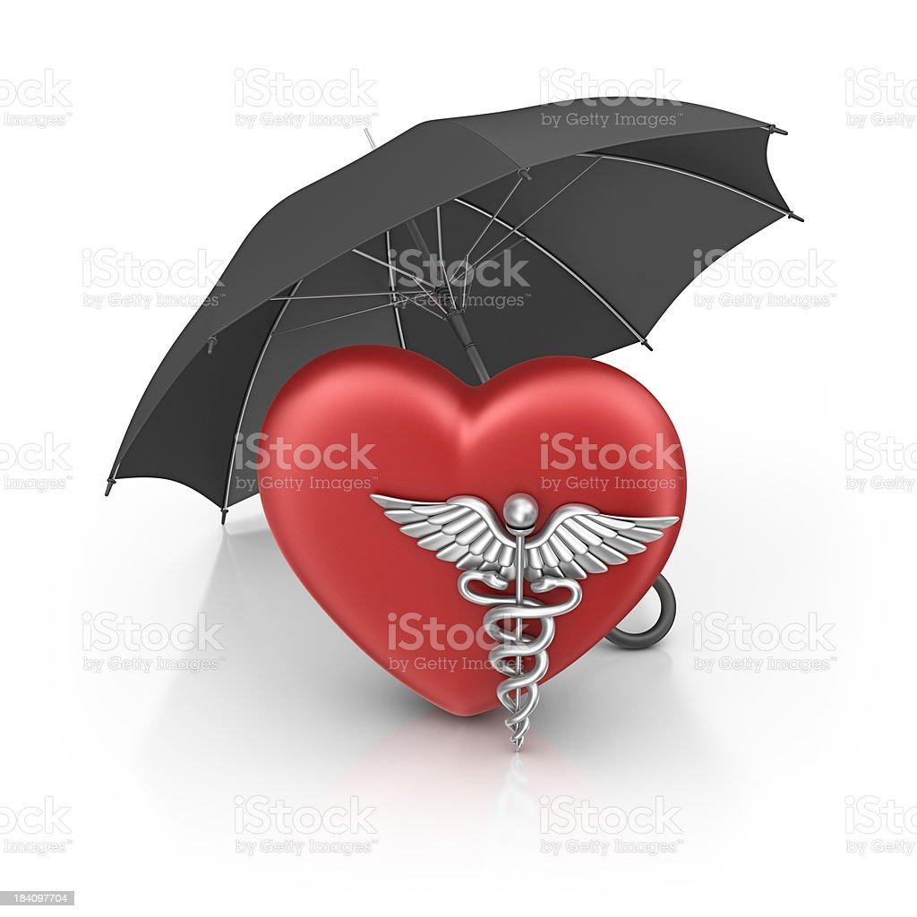 caduceus on heart and umbrella royalty-free stock photo