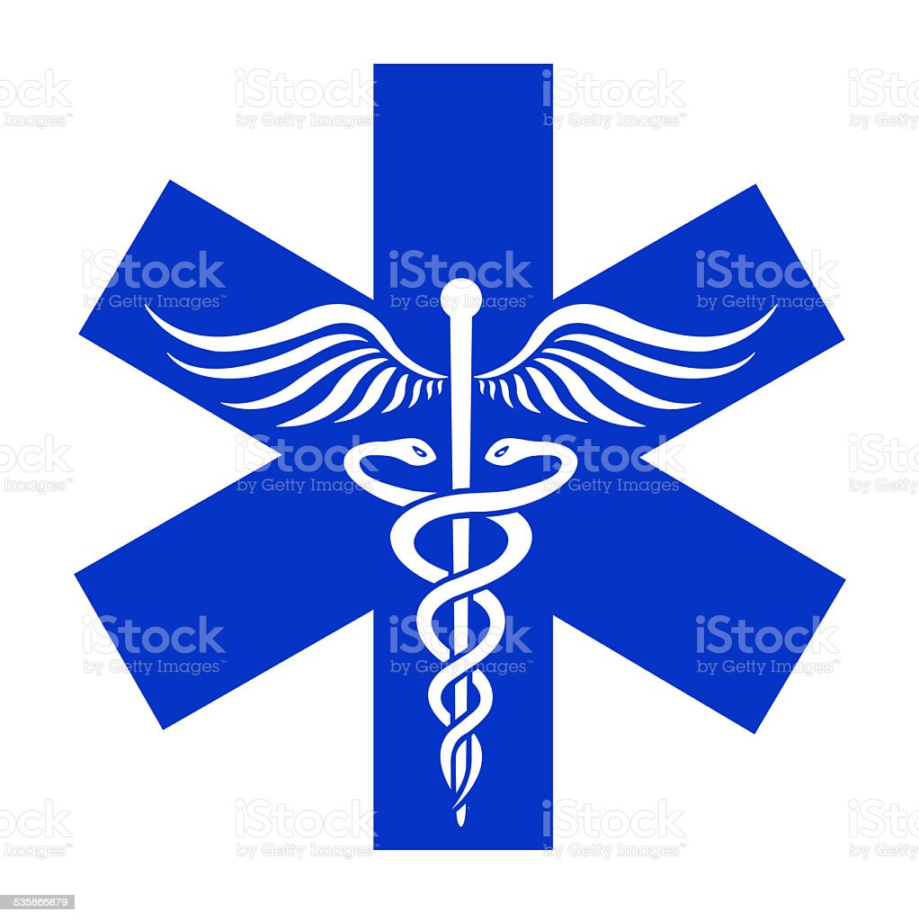 Caduceus sign in blue asterisk - medical icon stock photo