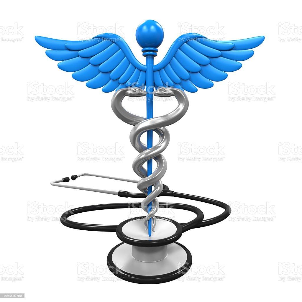 Caduceus Symbol and Stethoscope stock photo