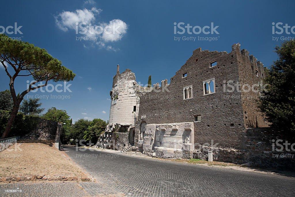 Caecilia Metella on the Appian way, or Via Appia Antica stock photo