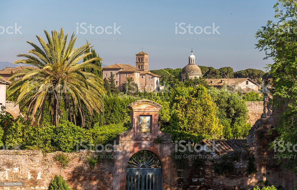 Caelian Hill, one of Seven Hills of Rome, Italy stock photo