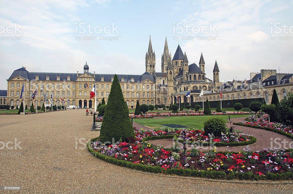Caen (Normandy) - Abbey exterior and gardens stock photo