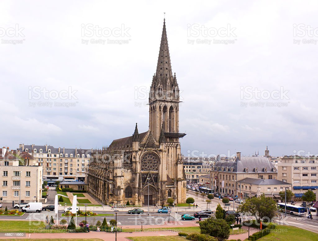 Caen Cathedral stock photo
