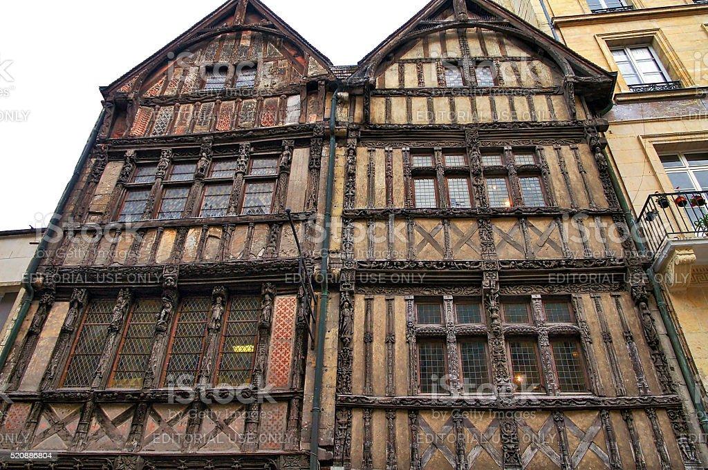 Caen: half-timbered house stock photo