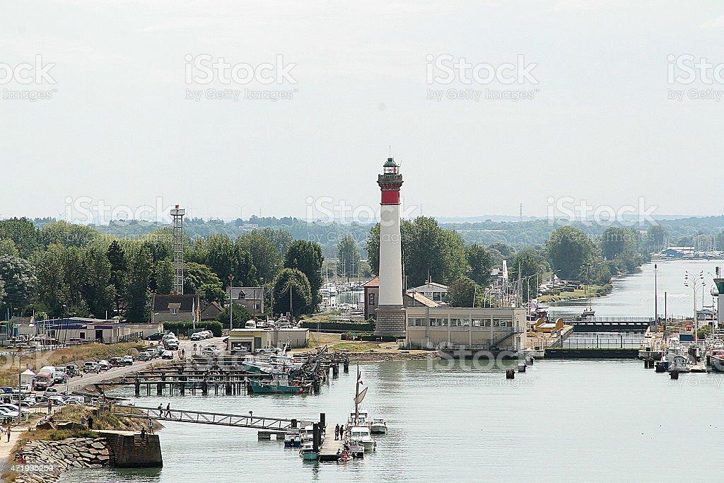 Caen Faro e canale in Francia foto stock royalty-free