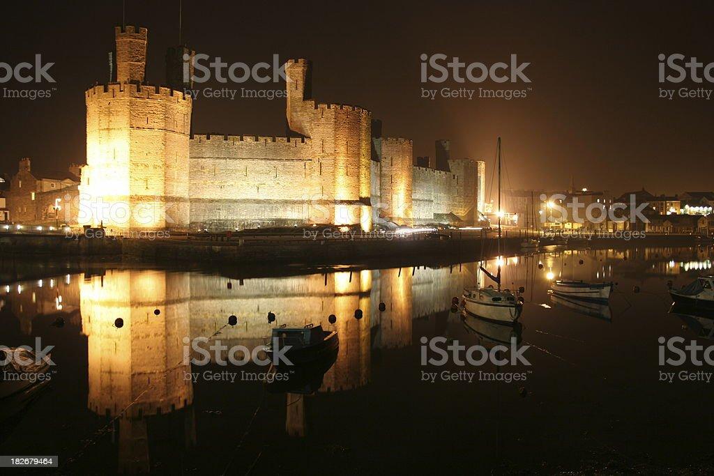 Caernarfon Castle by night royalty-free stock photo