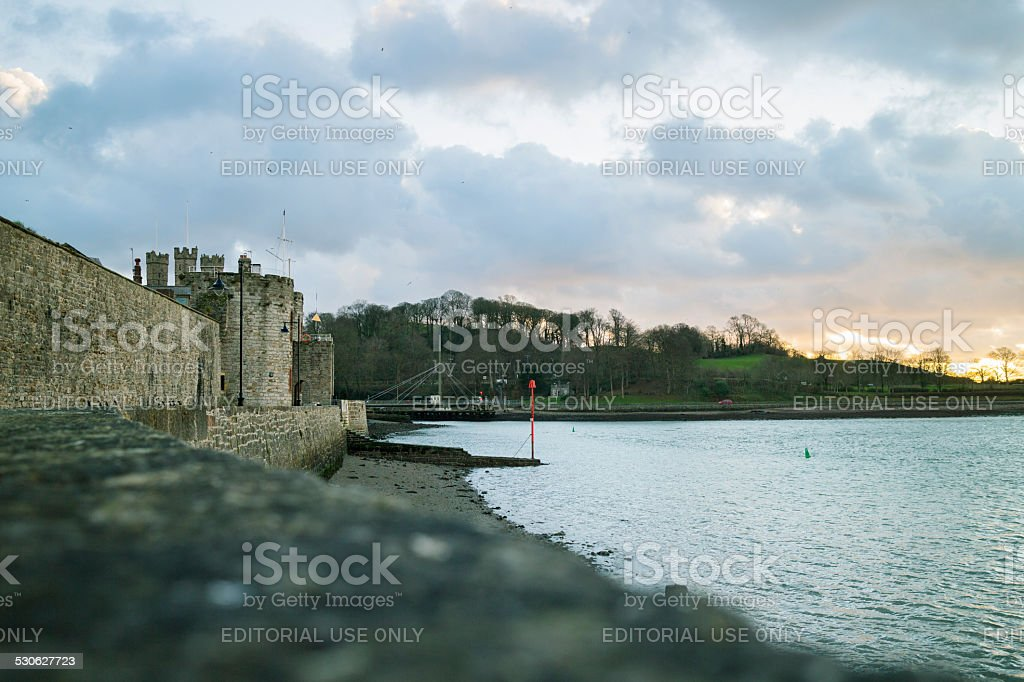 Caernarfon Castle twilight stock photo