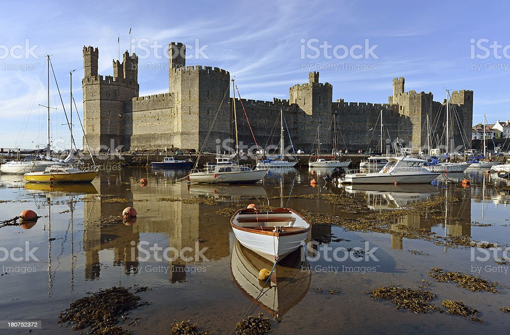 Caernarfon Harbour and Castle stock photo