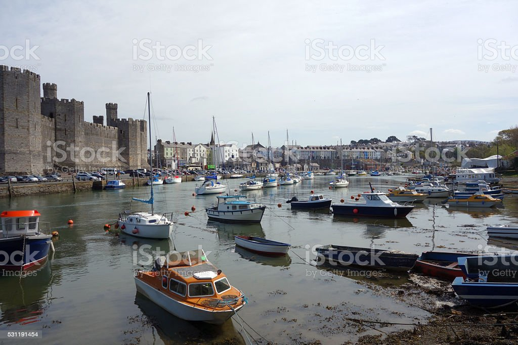 Caernarfon town and castle stock photo