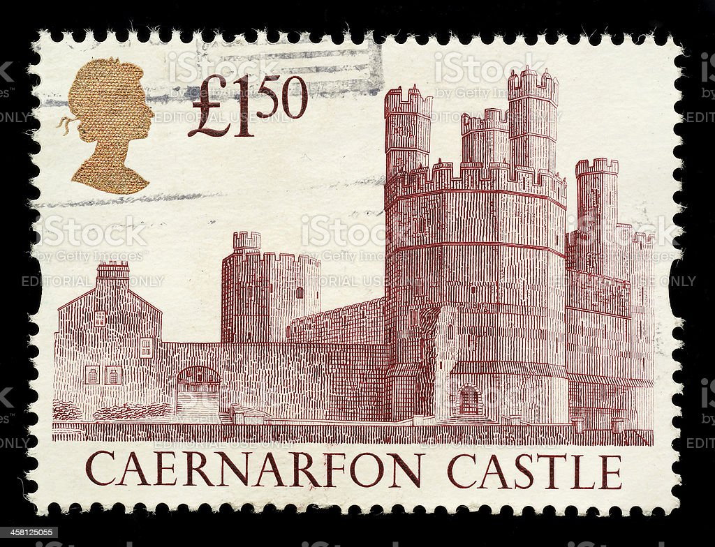 Caernarvon Castle Postage Stamp stock photo