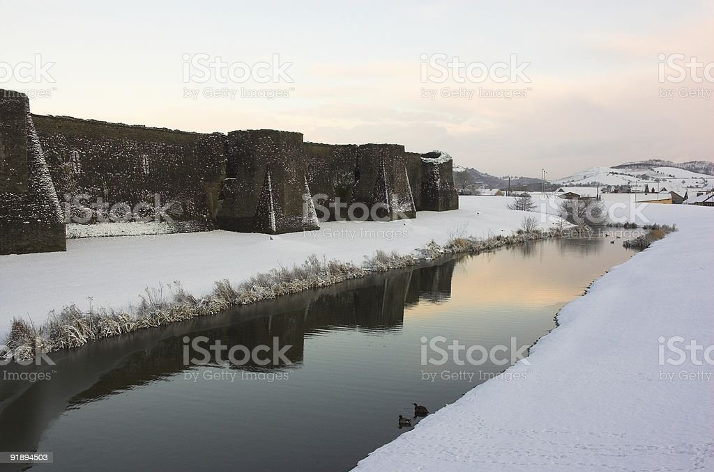Caerphilly Castle Wall in the Snow royalty-free stock photo
