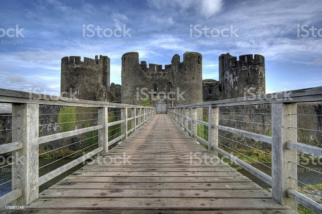 Caerphilly Castle wooden walkway stock photo