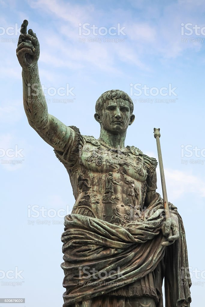 Caesar Augustus, ancient statue in Rome, Italy stock photo
