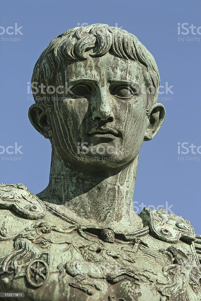 Caesar Augustus portrait in Rome, Italy stock photo