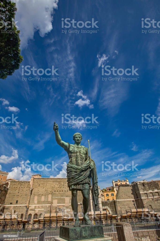 Caesar Octavian Augustus Statue in front of Ancient Trajan's Market in Rome stock photo