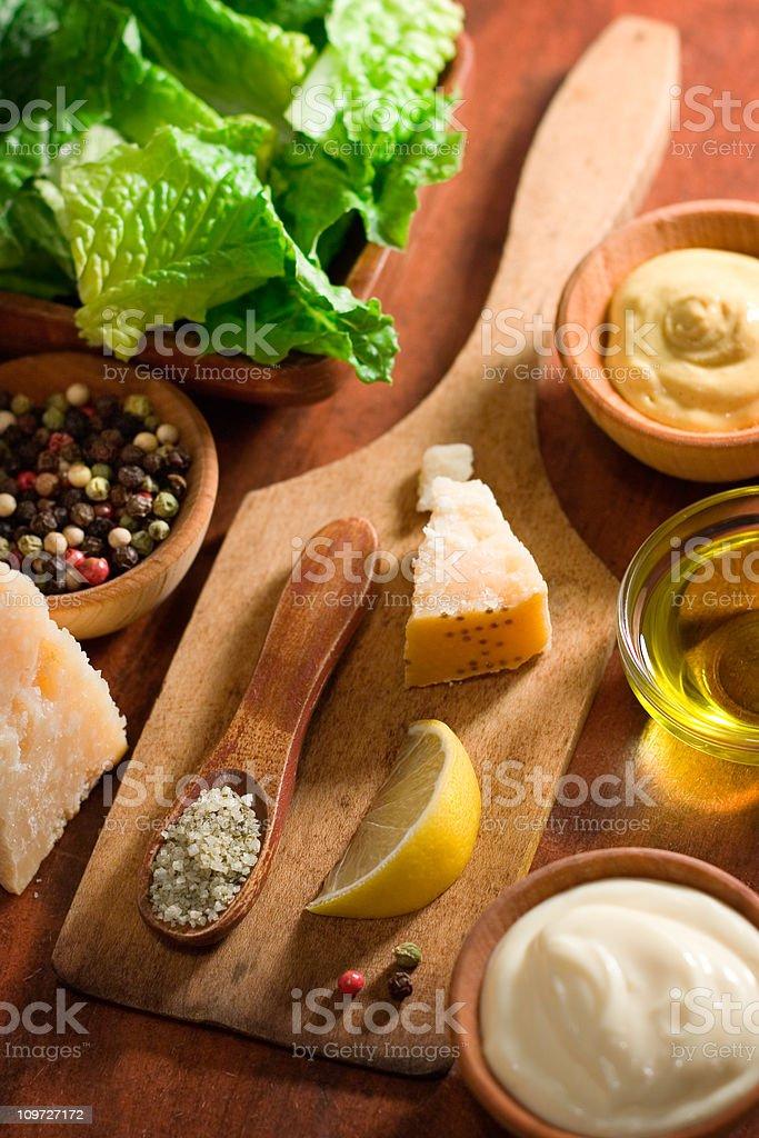 Caesar Salad Dressing Ingredients stock photo