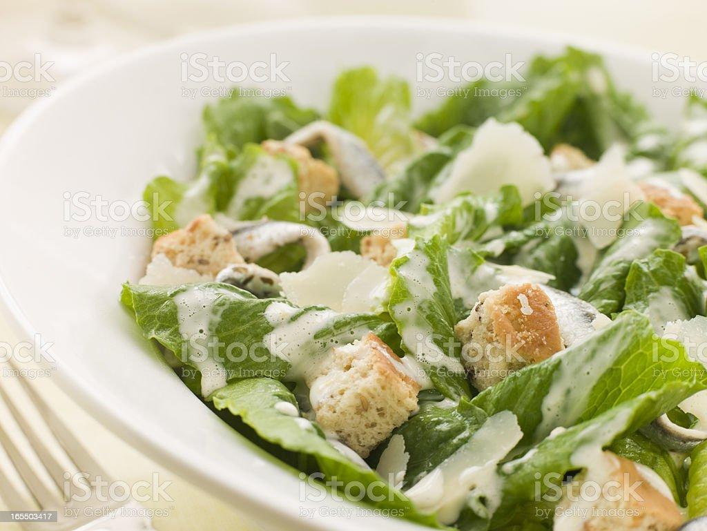 A Caesar salad in a white ceramic bowl stock photo
