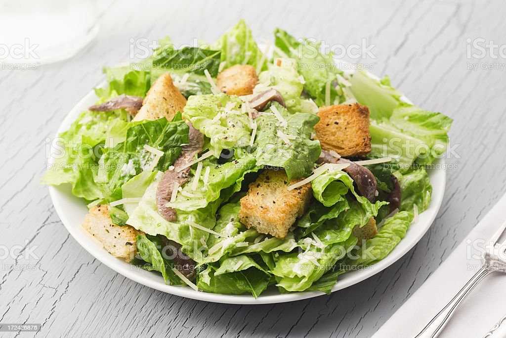 Caesar Salad with Anchovies royalty-free stock photo