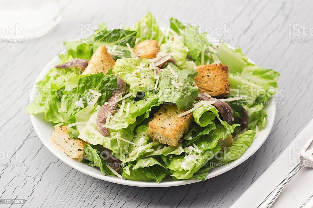 Caesar Salad with Anchovies stock photo