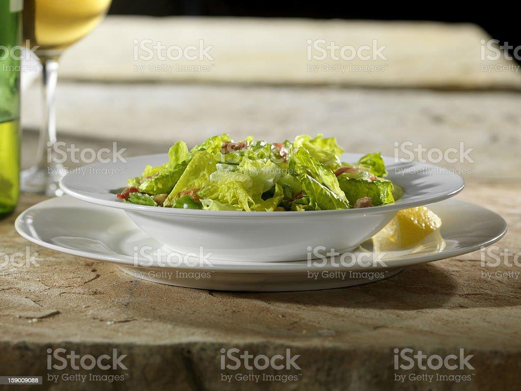 Caesar Salad  with White Wine royalty-free stock photo