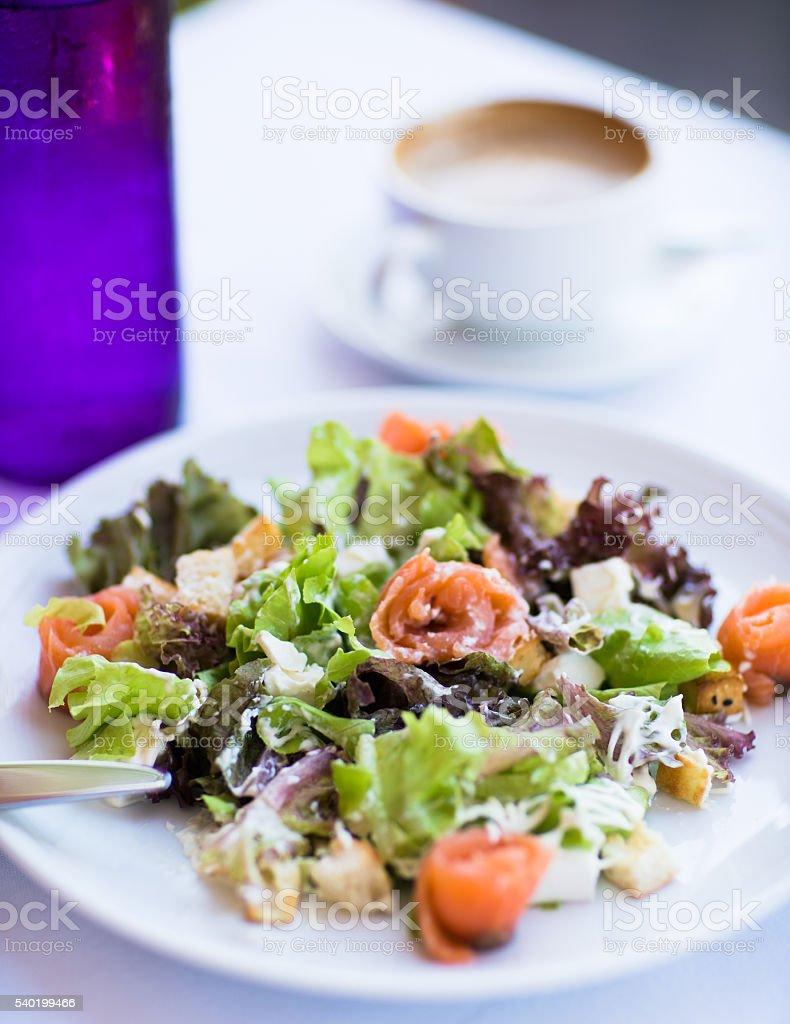 Caesar salmon salad stock photo