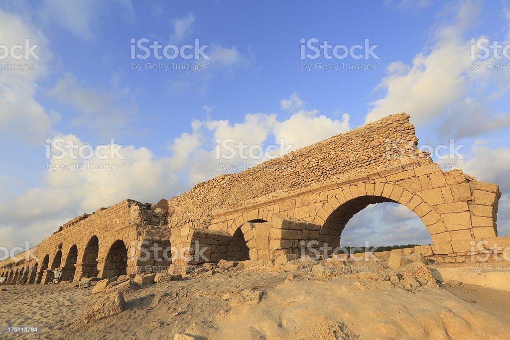 Caesarea aqueduct stock photo