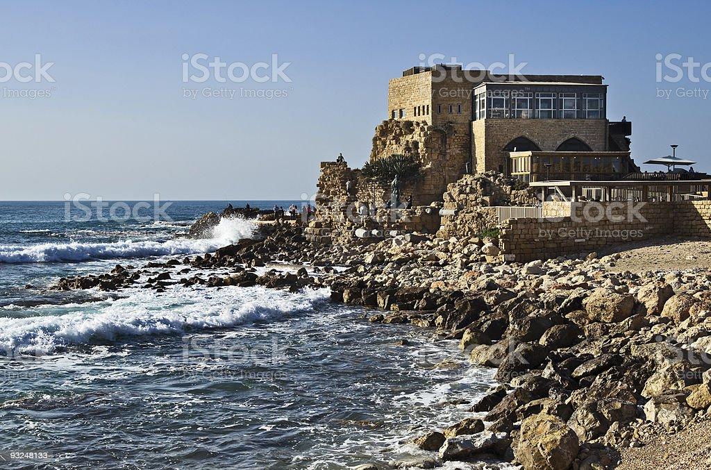 Caesarea harbor stock photo