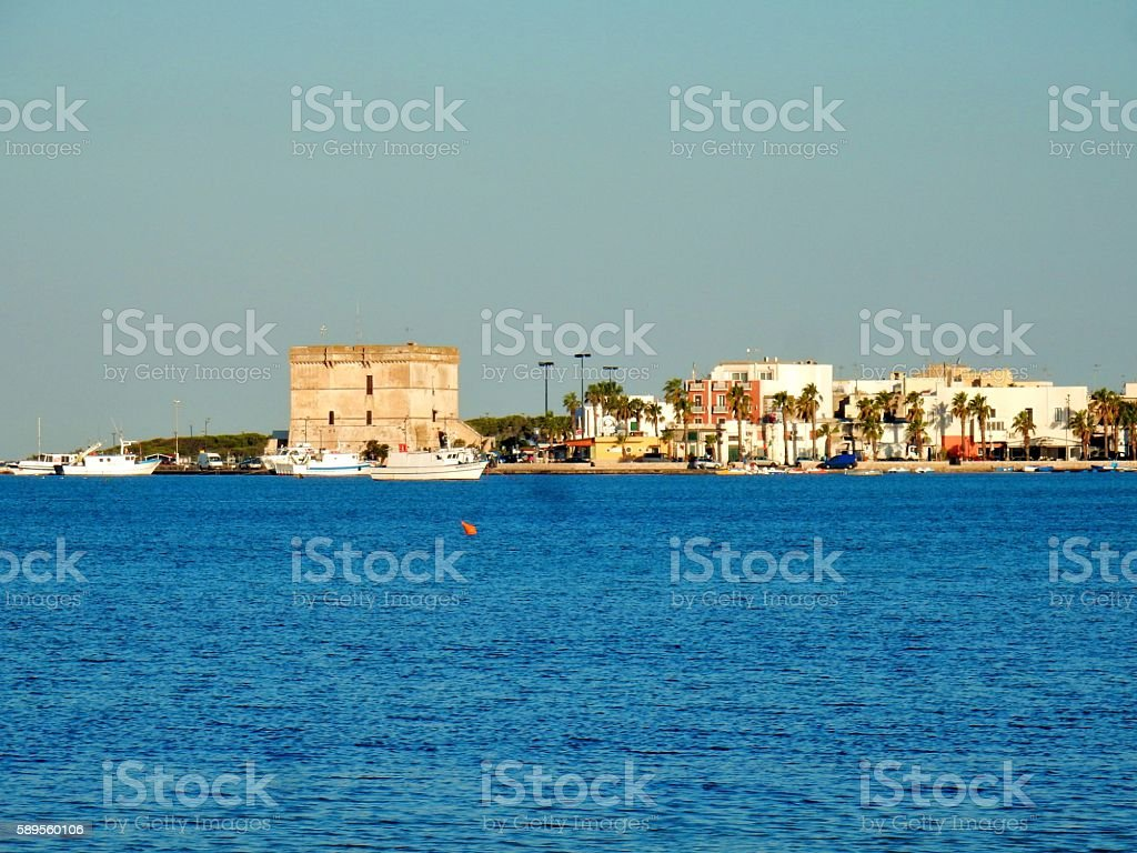 Torre Cesarea dal mare stock photo