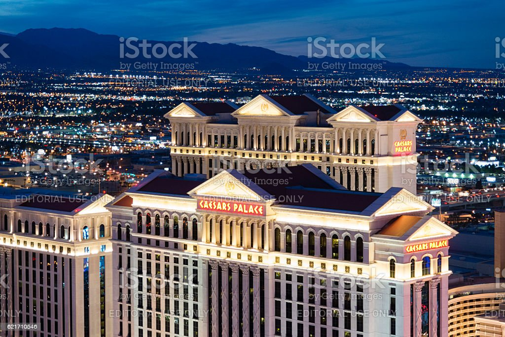 Caesars Palace Las Vegas Strip at night stock photo