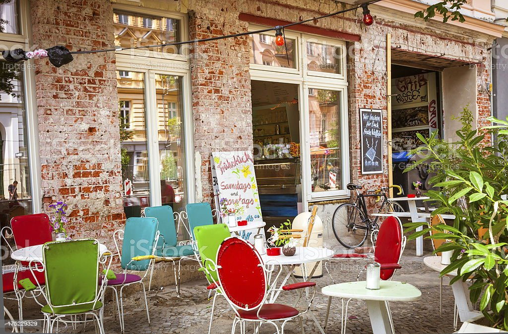 Café and shop in Prenzlauer Berg, Berlin royalty-free stock photo
