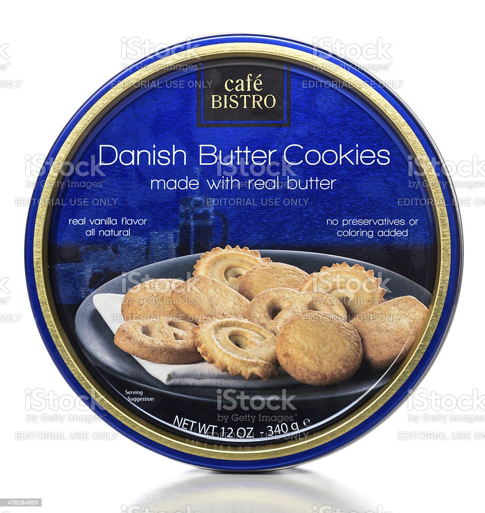Café Bistro Danish Butter Cookies can stock photo