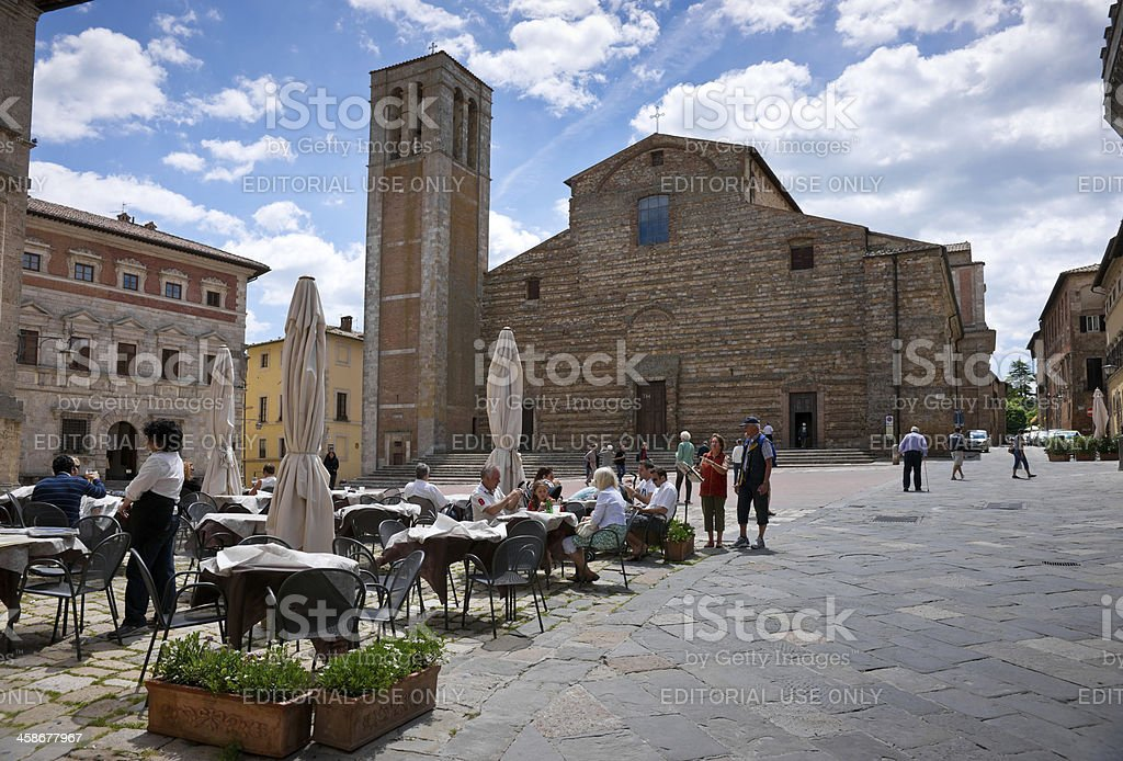 Café on Piazza Grande in Montepulciano, Tuscany stock photo